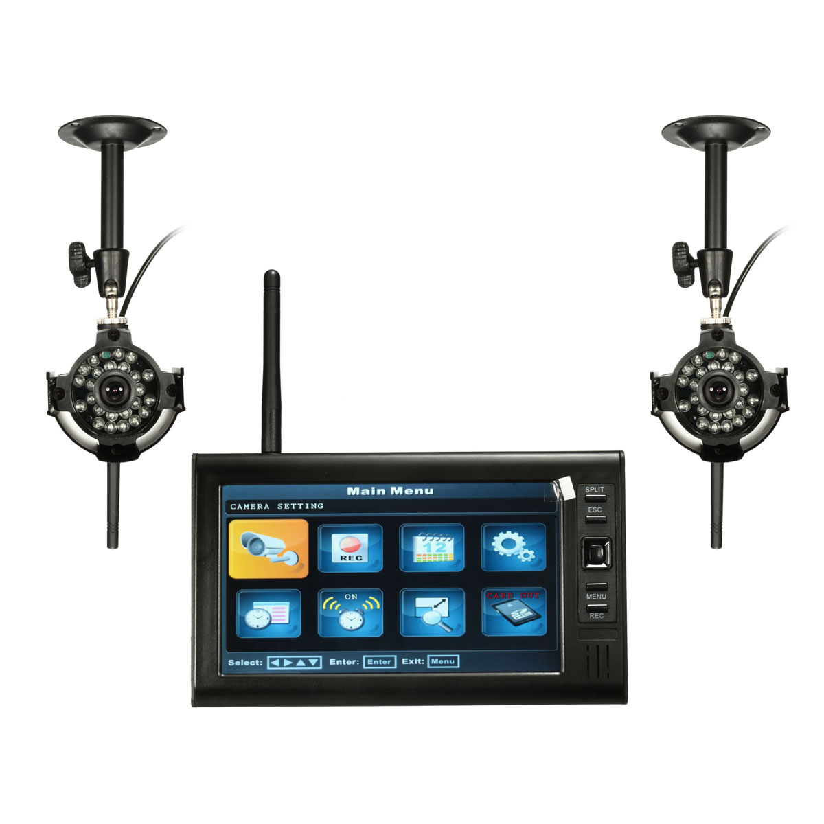 7-дюймовый LDC Монитор Видеорегистратор с 2 беспроводными CCTV камера Motion Detect Домашняя система безопасности