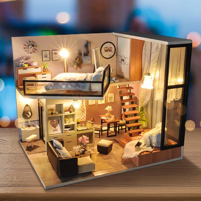 T-Yu TD16 Yoko Wei Meng DIY Puppenhaus Mit Licht Abdeckung Miniatur Modell Geschenk Sammlung Decor Spielzeug