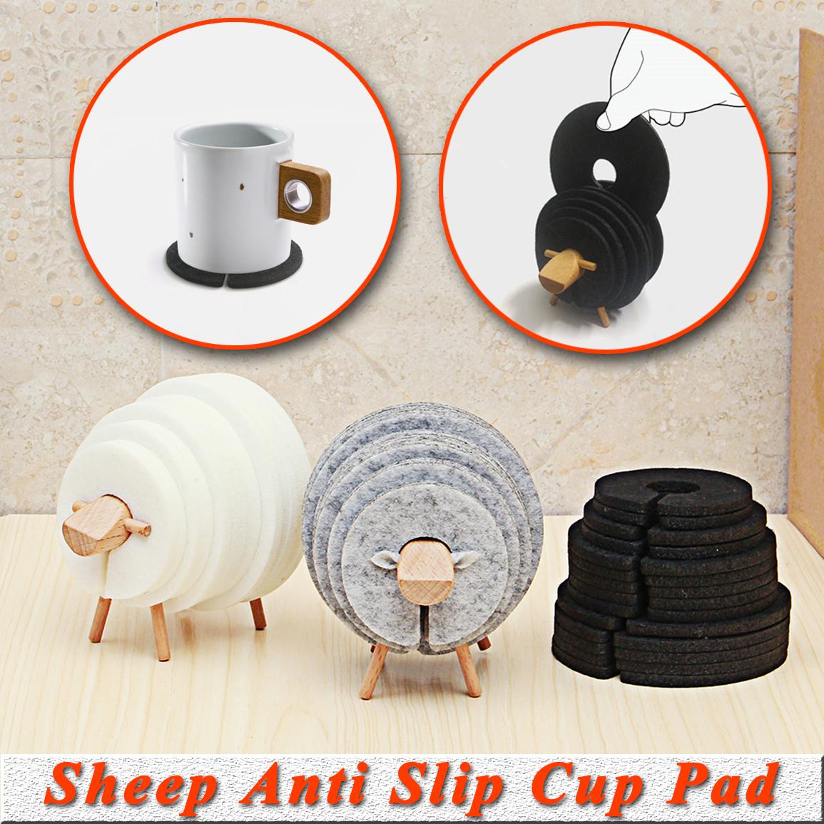 Sheep Shape Anti Slip Drink Coasters Insulated Round Felt Cup Mats  Tableware Coaster