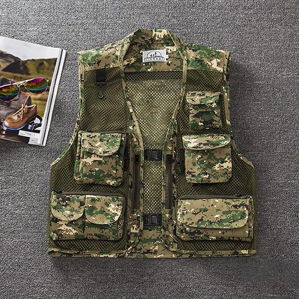 Mens Summer Outdooors Mesh Camouflage Solid Color Multi Pocket Рыбалка Жилет для жилета с фотографией