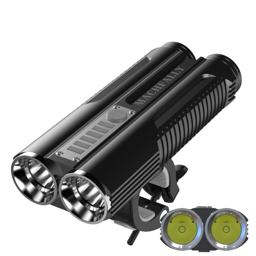 XANES DL18 1300LM 2xL2 Bike Headlight 2000mAh Battery USB Rechargeable IP67 Waterproof Cycling Front Light Flashlight