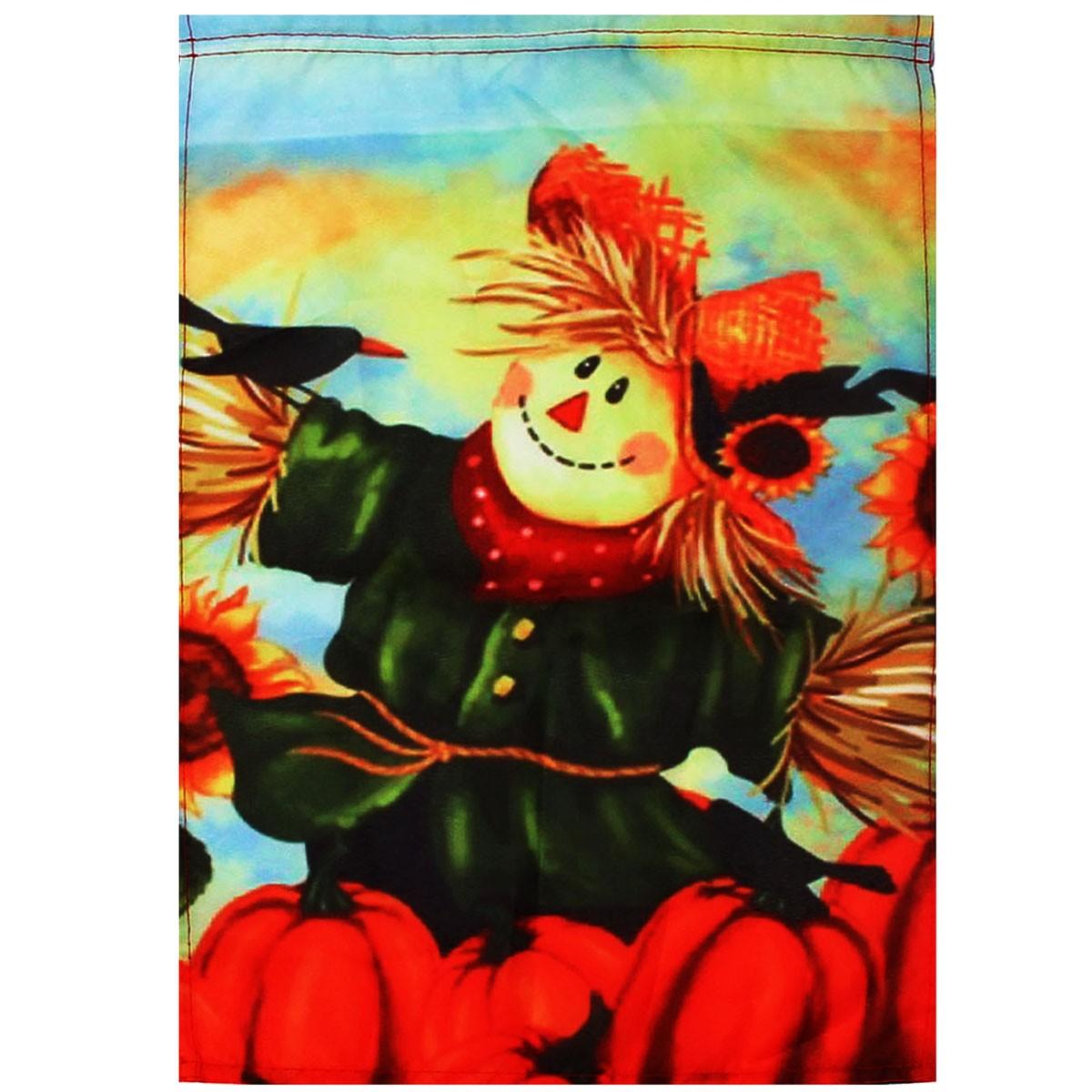12 '' x 18 '' Осенние Черные Вороньи Тыквы Чучело и Подсолнечное Осень Сад Флаг Украшения