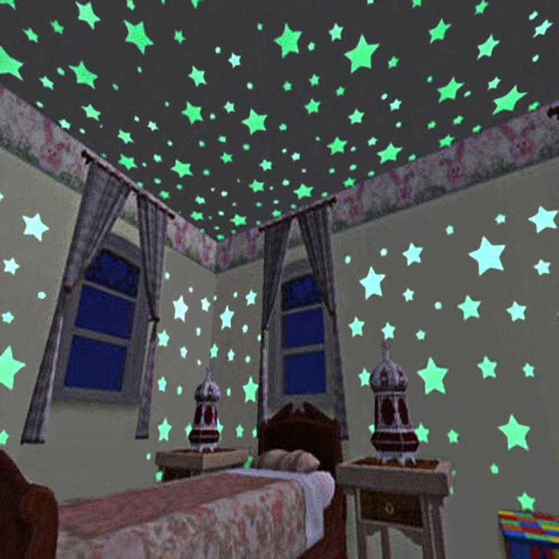 100pcs3Dзвездысветятвтемноте светящиеся ленты флуоресцентные пластиковые наклейки стены наклейки стены украшения