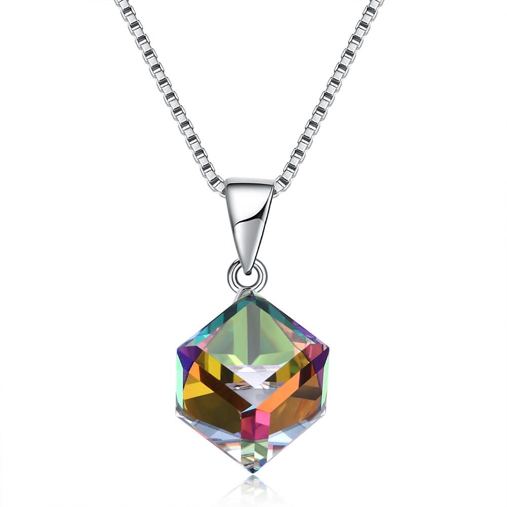 Серебро 925 пробы Colorful Сияние Cube Кристаллическое ожерелье S
