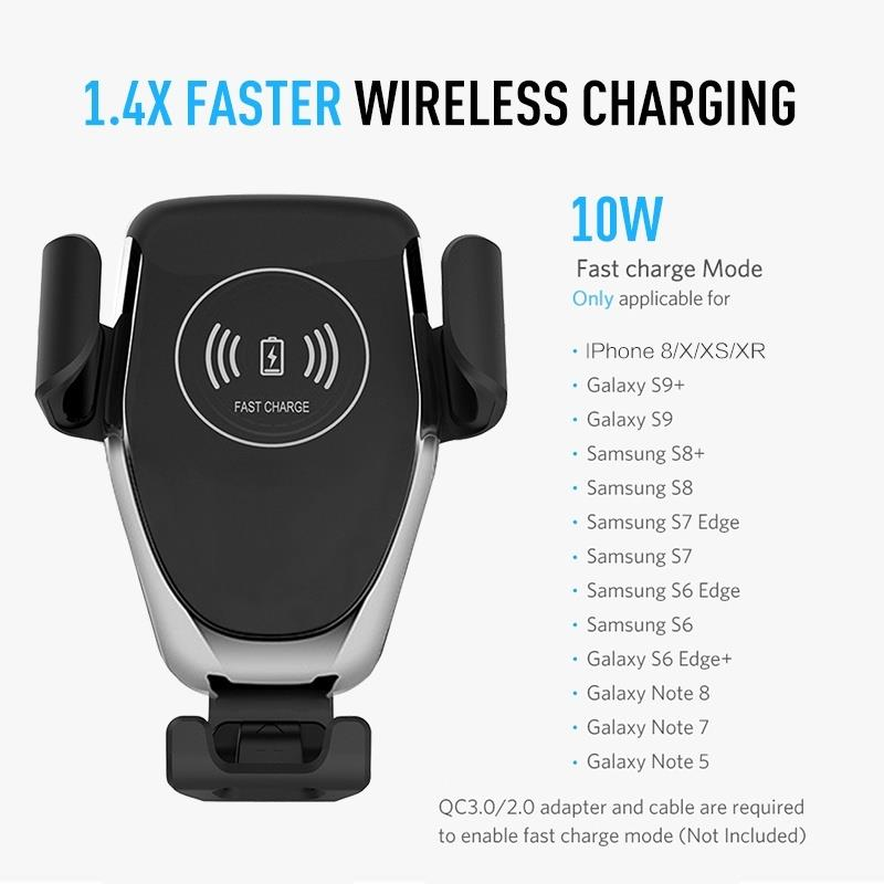 Qi Wireless Fast Mobile Phone Charger Car Air Vent Holder Mount