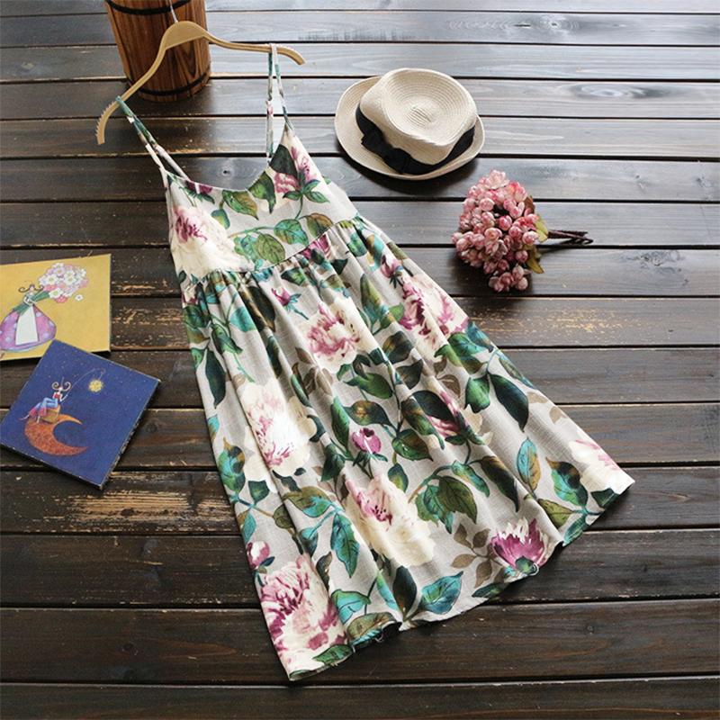 Sexy Women Floral Spaghetti Strap Mini Cotton Boho Floral Dress