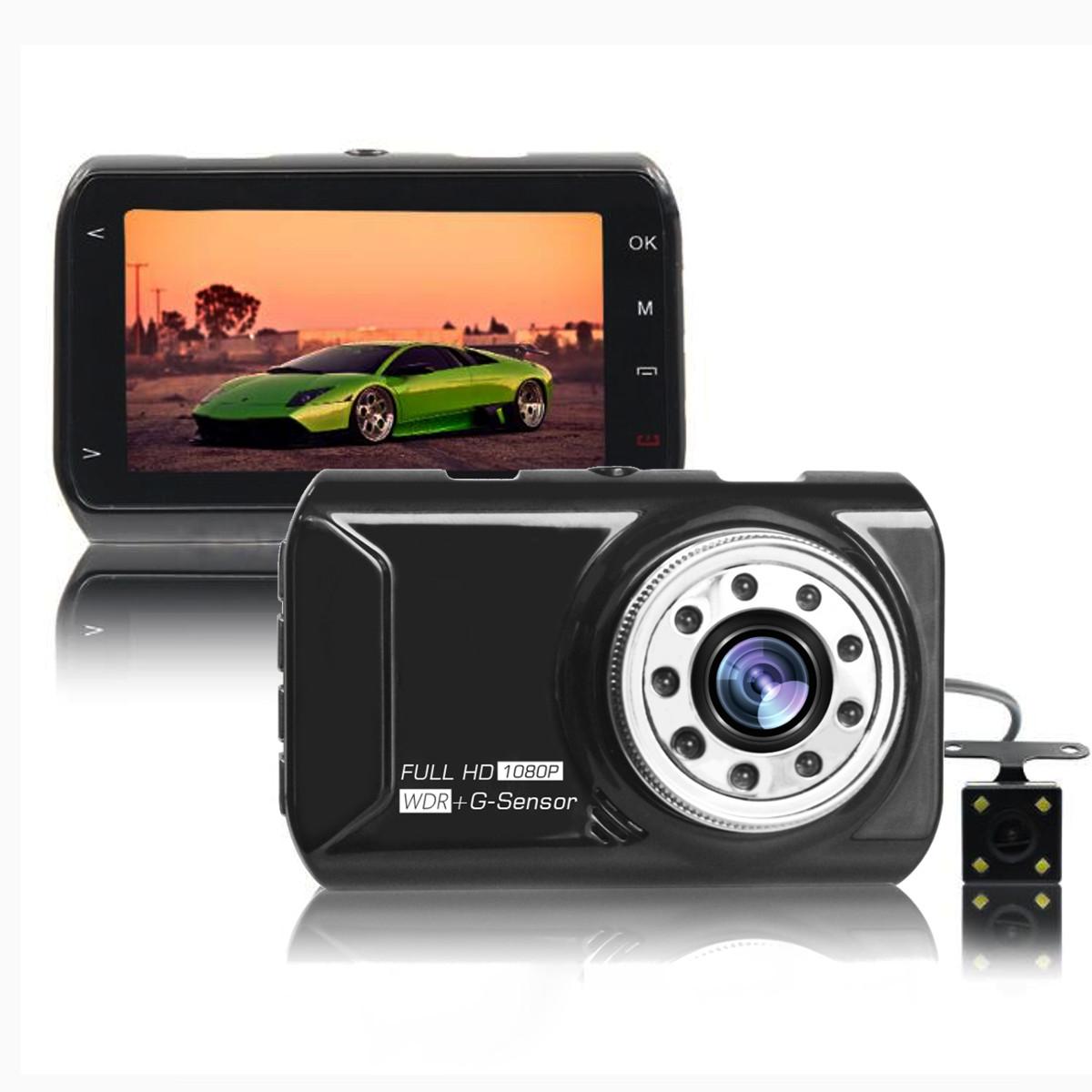3,0 дюймов Экран 1080P 170 градусов широкоугольный двойной Объектив HD вождение рекордер Авто Видеорегистратор фото