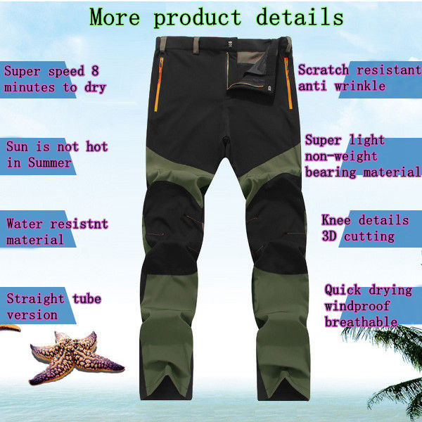 Outdoor Dry Thin Elastic Pants Mens Windproof Breathable Wicking Hiking Climbing Trousers