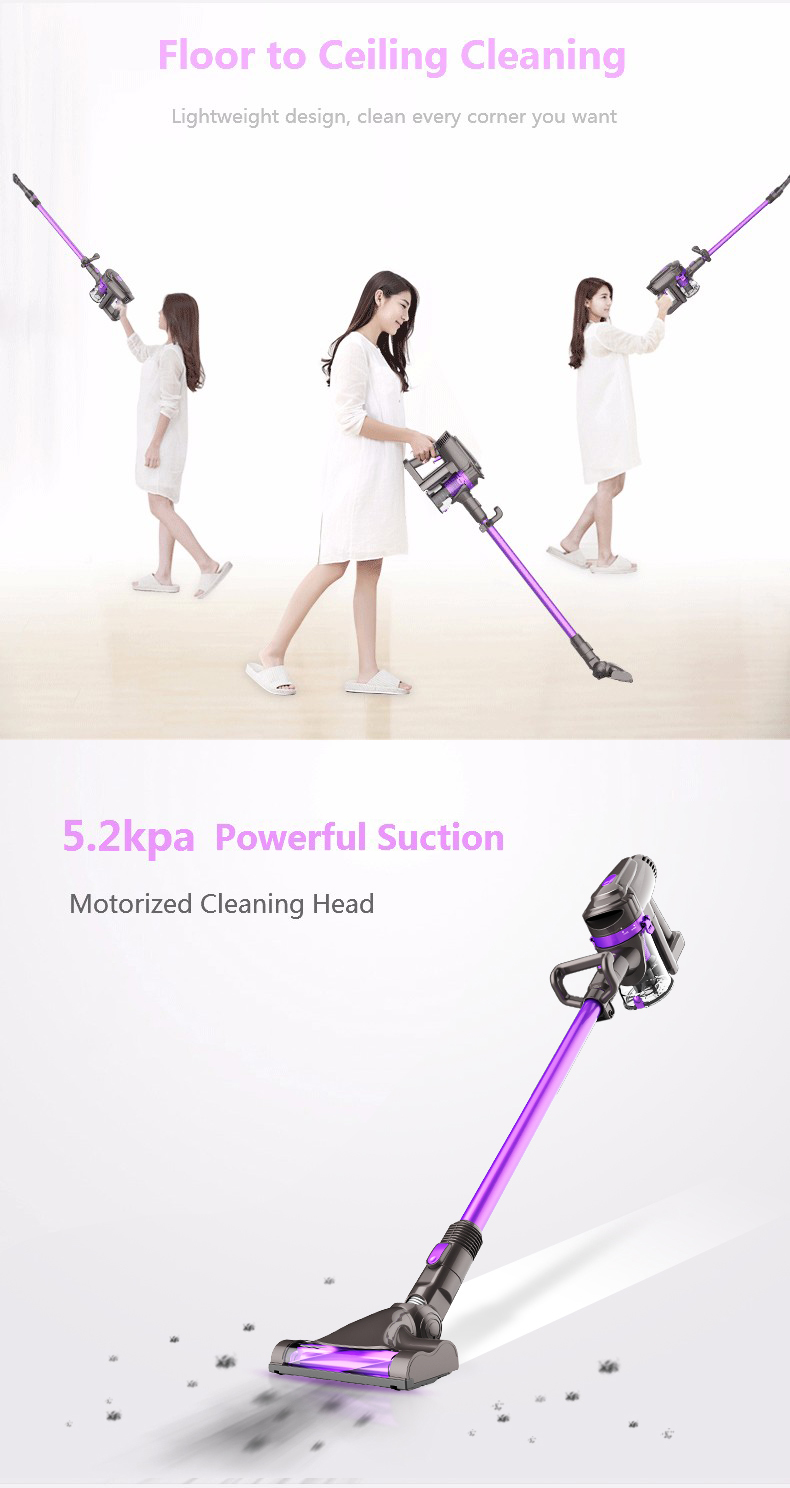 Dibea F6 2-in-1 Powerful Wireless Upright Vacuum Cleaner Quiet Mini Home Rod Portable Dust Collector 5200PA 2200mAh