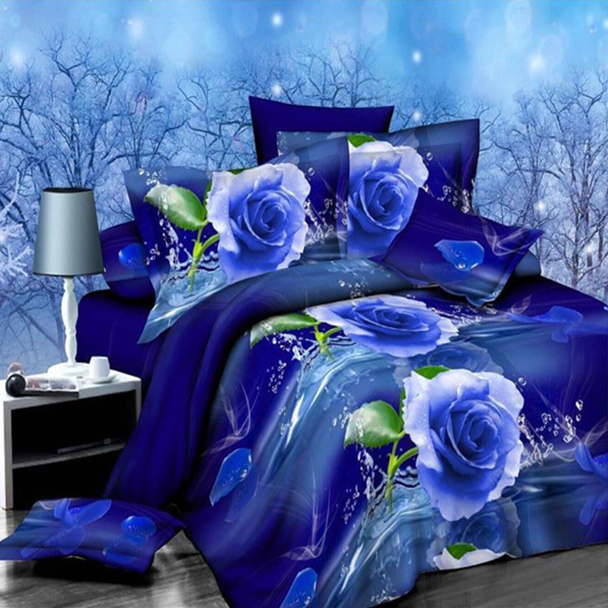 4шт костюм полиэфирного волокна 3d голубой розы реактивной крашение комплекты постельных принадлежностей Королева Король размер