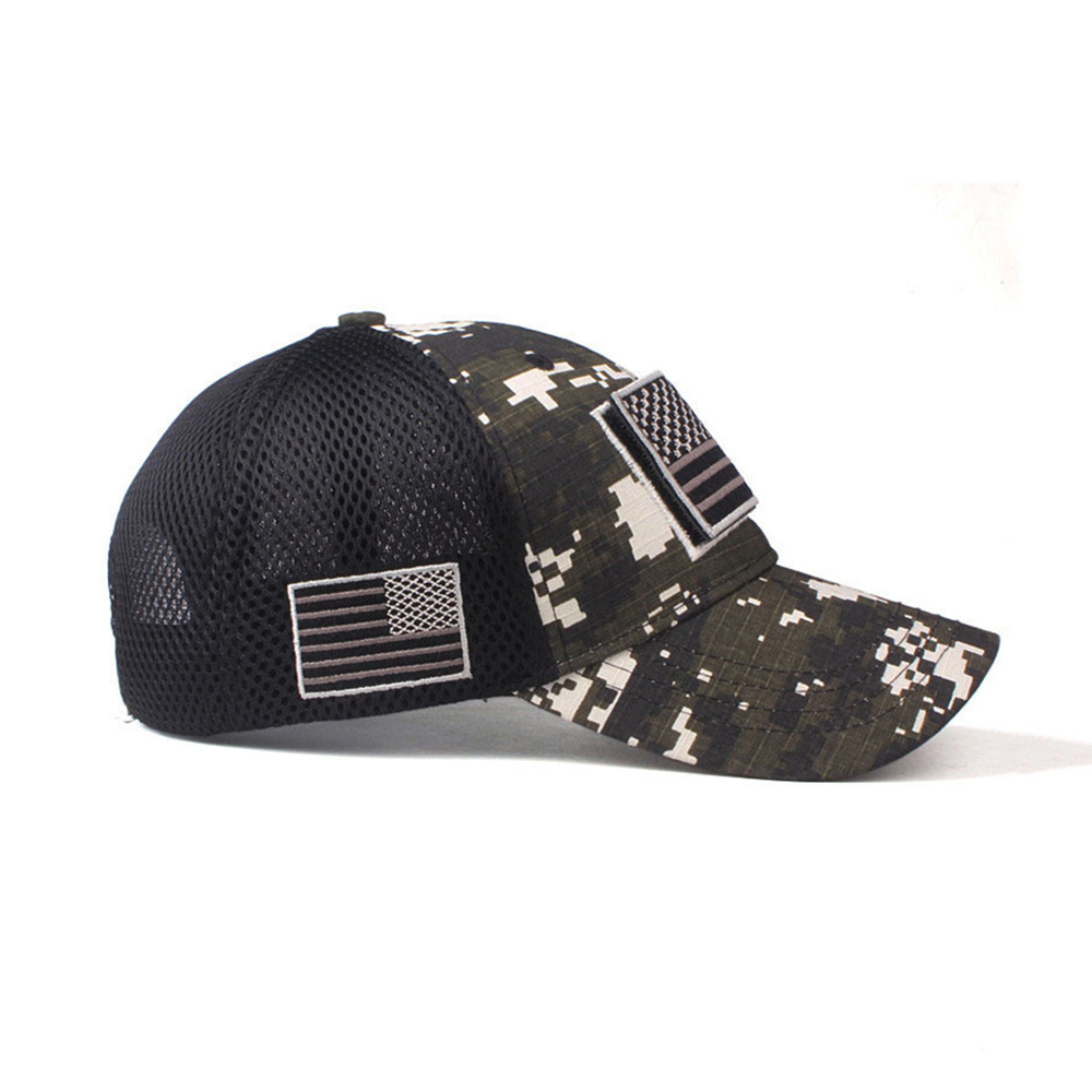 Camo Patriotic Baseball Cap American Flag Patch Cotton Net Cap
