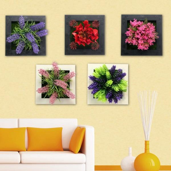 Сквозная вертикальная настенная подвеска Искусственные цветы