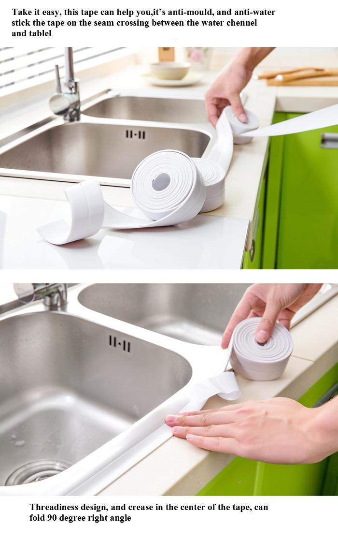 Honana 3.8mm Kitchen Bathroom Self Adhesive Wall Seal Ring Tape Waterproof Tape Mold Proof Edge Trim Tape Accessory 11