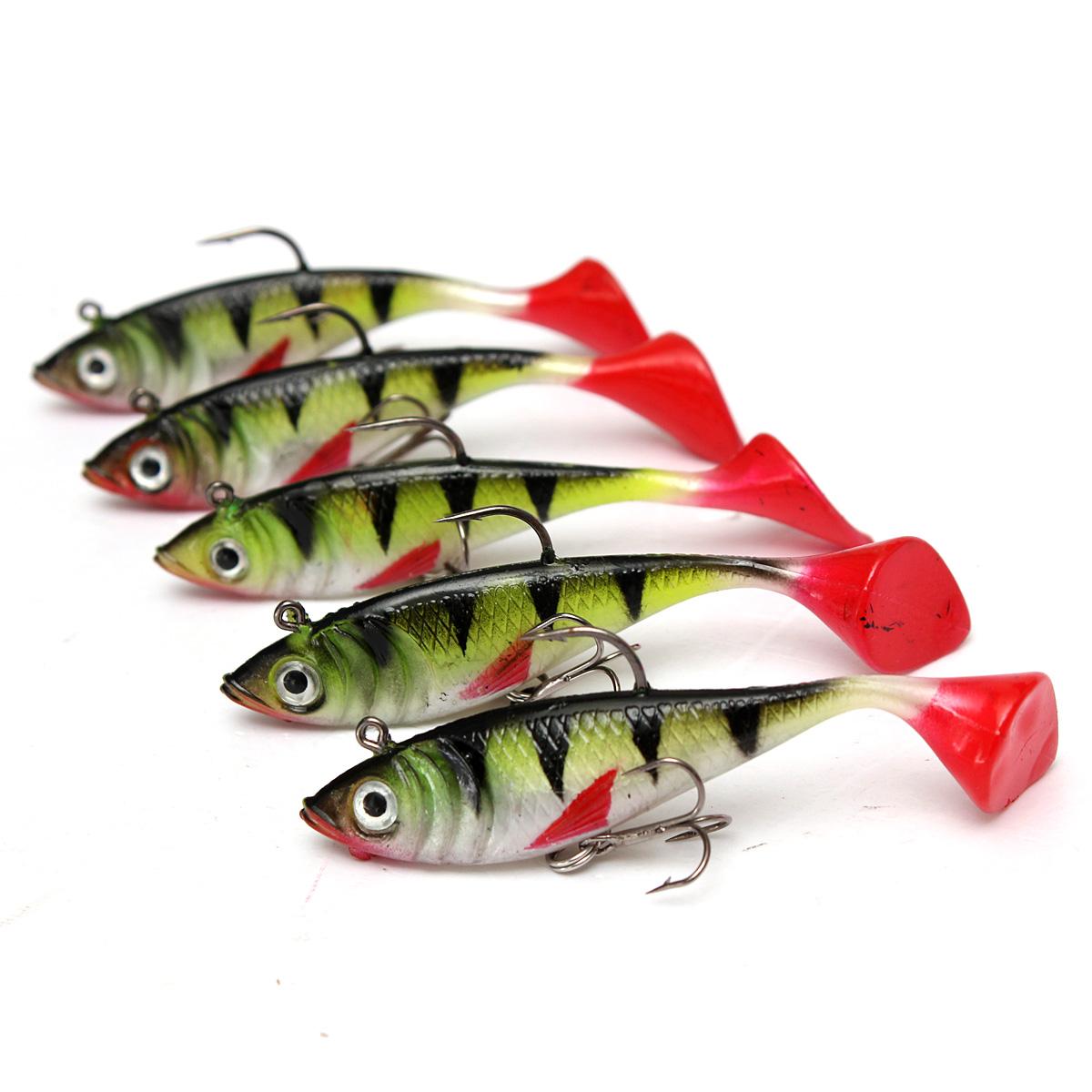 5Pcs 3 34'' Long Tail Soft Lead Fish Fishing Lures Luminous Sea Fishing  Tackle Soft Bait Bass Hook