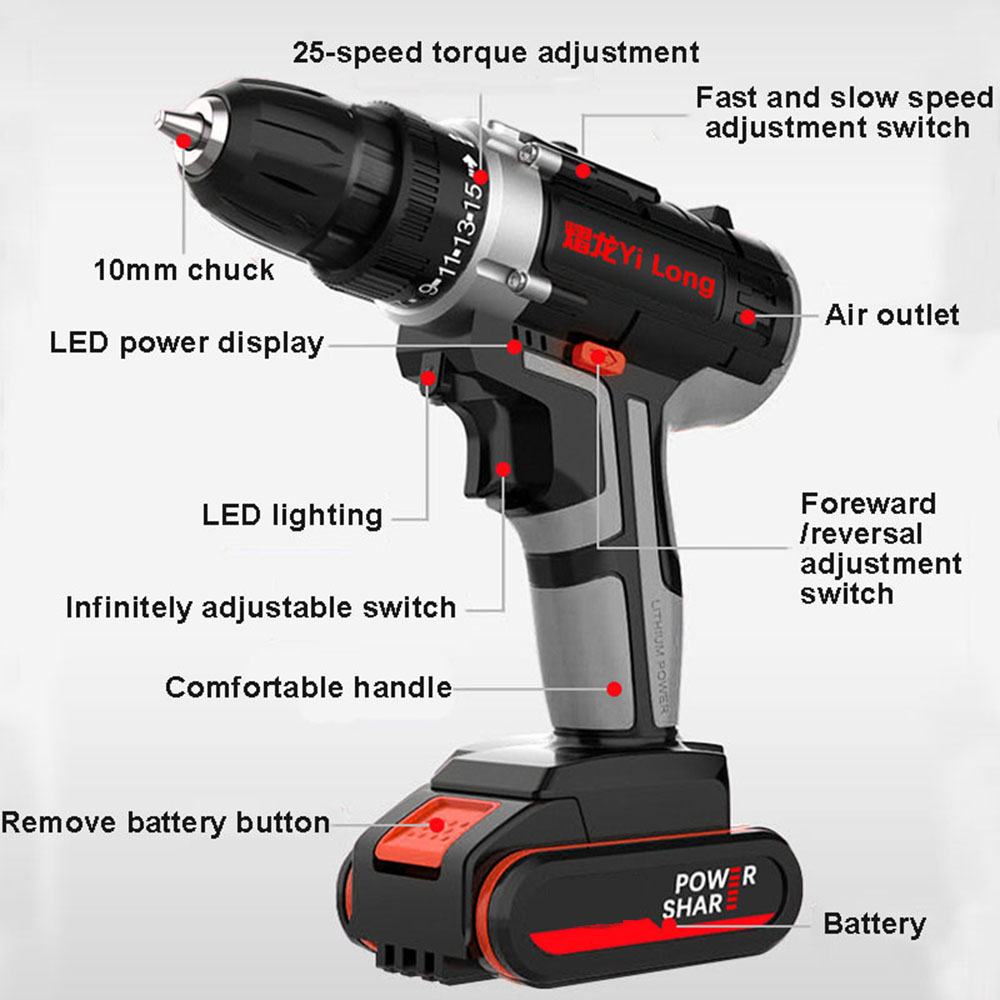 Electric Screwdriver Cordless Impact Drill Power Driver 42V Max DC 4000mAh Battery 2-Speed