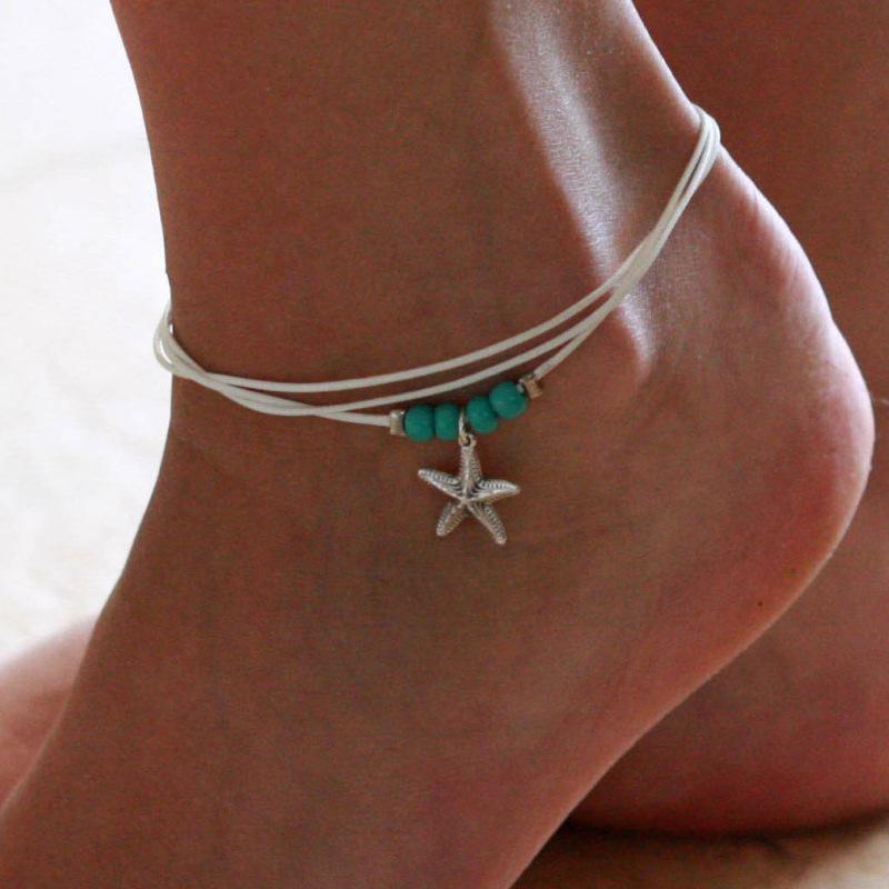 Богемский белый воск Веревка Голубой шарик из бисера Звезда Кулон Ножные браслеты