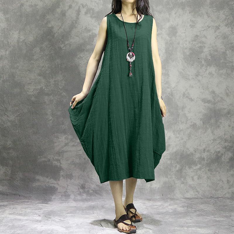 Women Sleeveless Round Neck Tunic Baggy Mid-long Dress