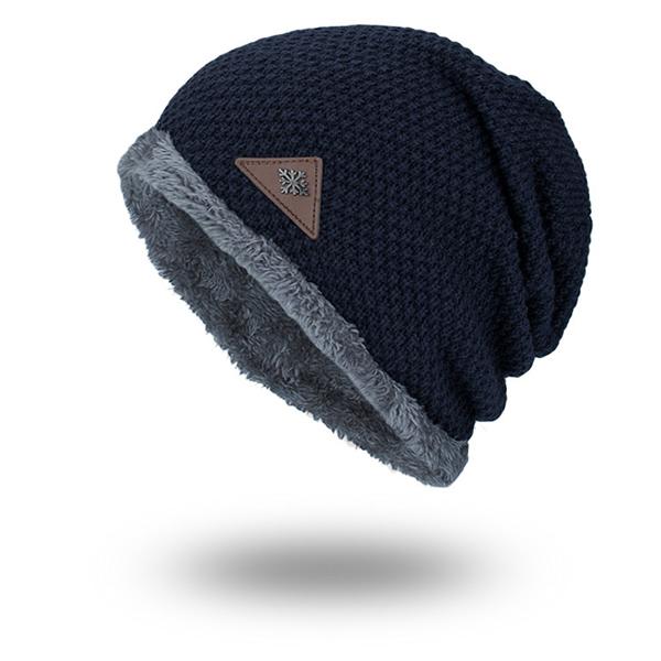 a26718b2d3b5fc mens plus velvet warm knitted beanie hat at Banggood