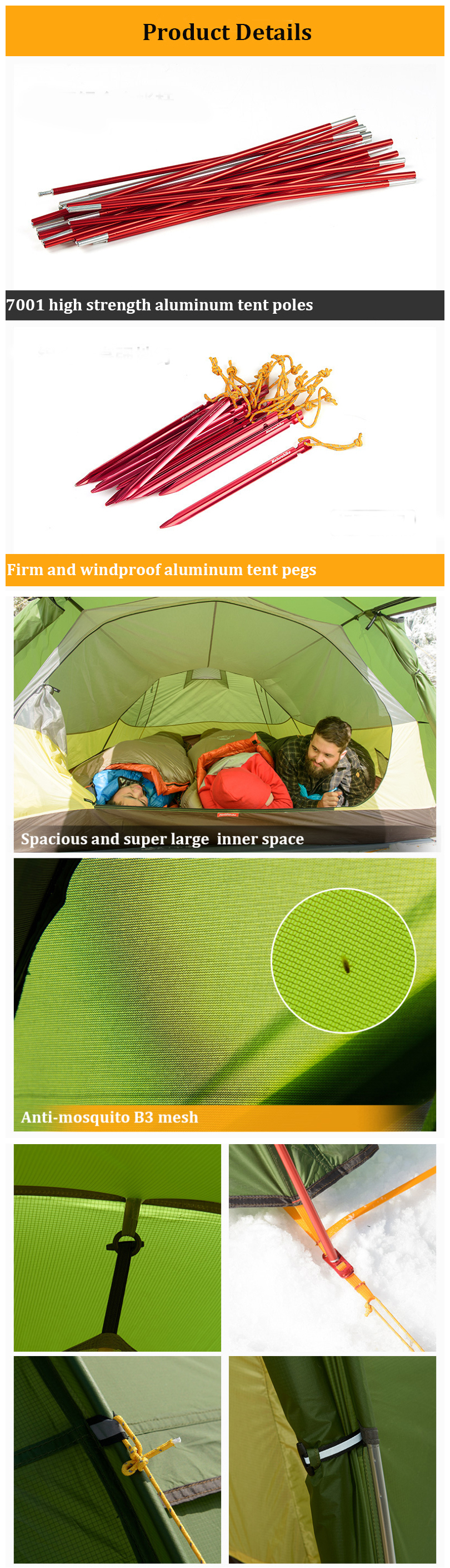 Naturehike NH17L001-L 3-4 People Tunnel Tent 20D 210T Waterproof Camping  Canopy Sunshade