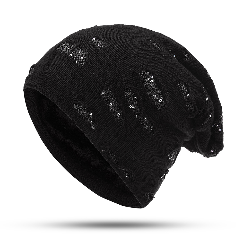 Men Women Winter Plush Kint Beanie Cap Outdoor Double Layers Earmuffs Ski Skullcap Hat