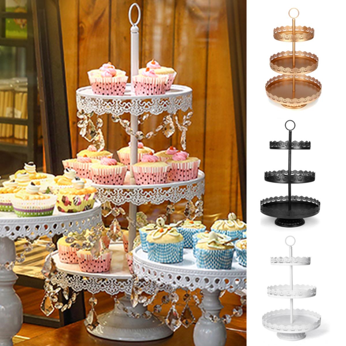 3-яруснаяподставкадлякексаМеталлическийторт Десерт Свадебное Праздничная вечеринка Дисплей Башня Пластина Украшения