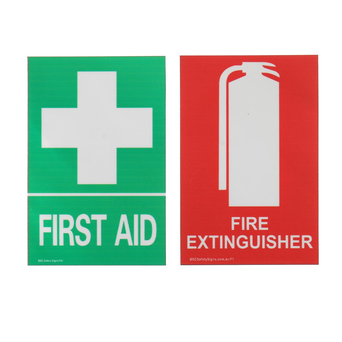 100x66mm Первая помощь огнетушитель ПВХ наклейка знак Decal Установить OHS WHS