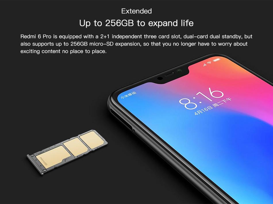 Xiaomi Redmi 6 Pro Dual AI Camera 5 84 inch 3GB RAM 32GB ROM Snapdragon 625  Octa core 4G Smartphone