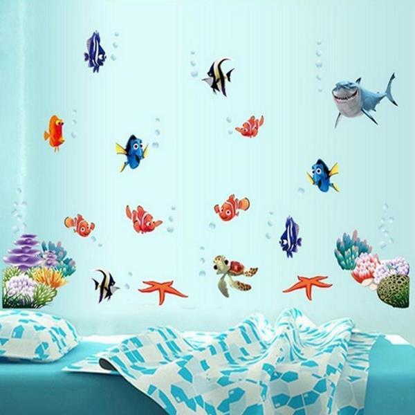 Coloful Under Water World Wall Стикер Гостиная Домашнее украшение Творческая наклейка DIY Фреска стены