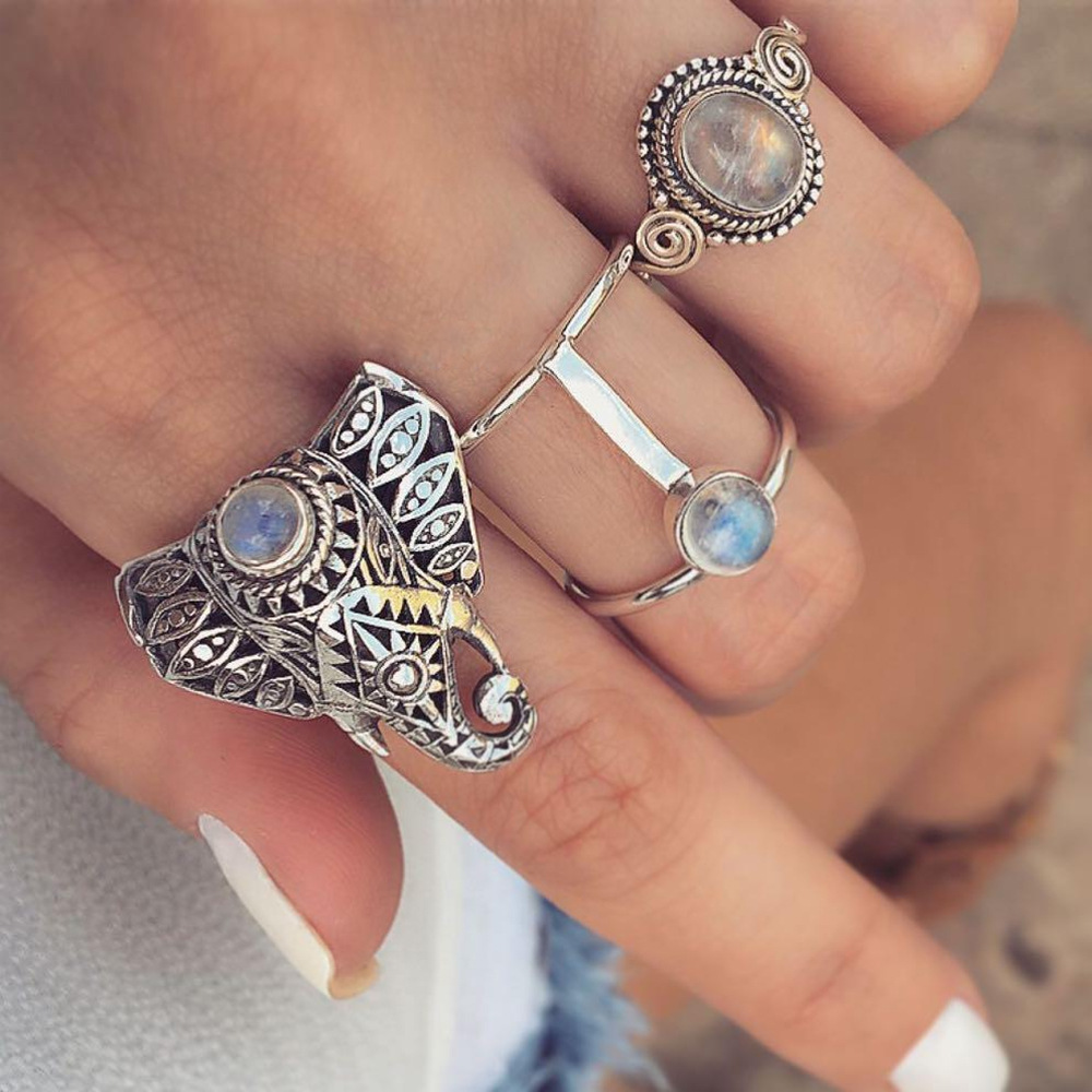 Винтаж Finger Ring Set Gemstone Cute Elephant Silver