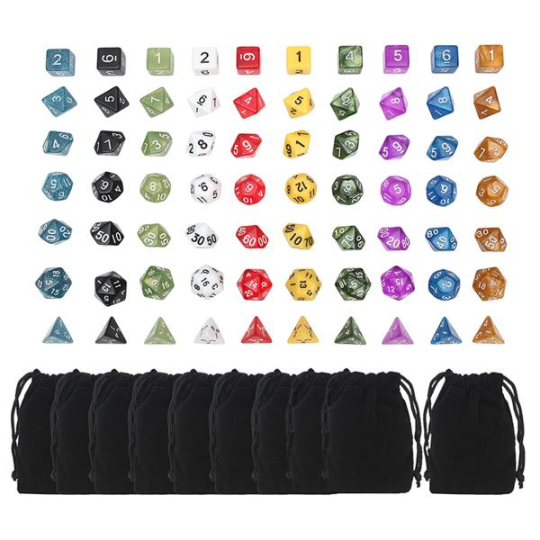 70 Pcs Polyhedral Dice Board RPG Dice Set 10 Colors 4D 6D 8D 10D 12D 20D With 10 Bags