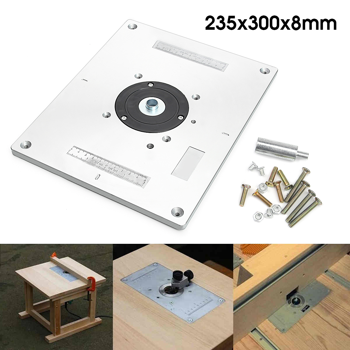 Aluminum Router Table Insert Plate 235mm X 300mm X 8mm For Woodworking Benches