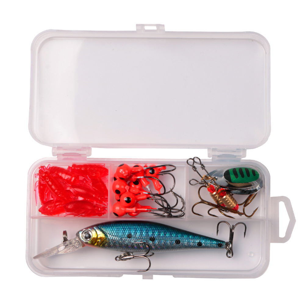 LUSHAZER 24PCS Fishing Lure Set Fishing Bait with Box Outdoor Camping Fishing Hunting Accessories