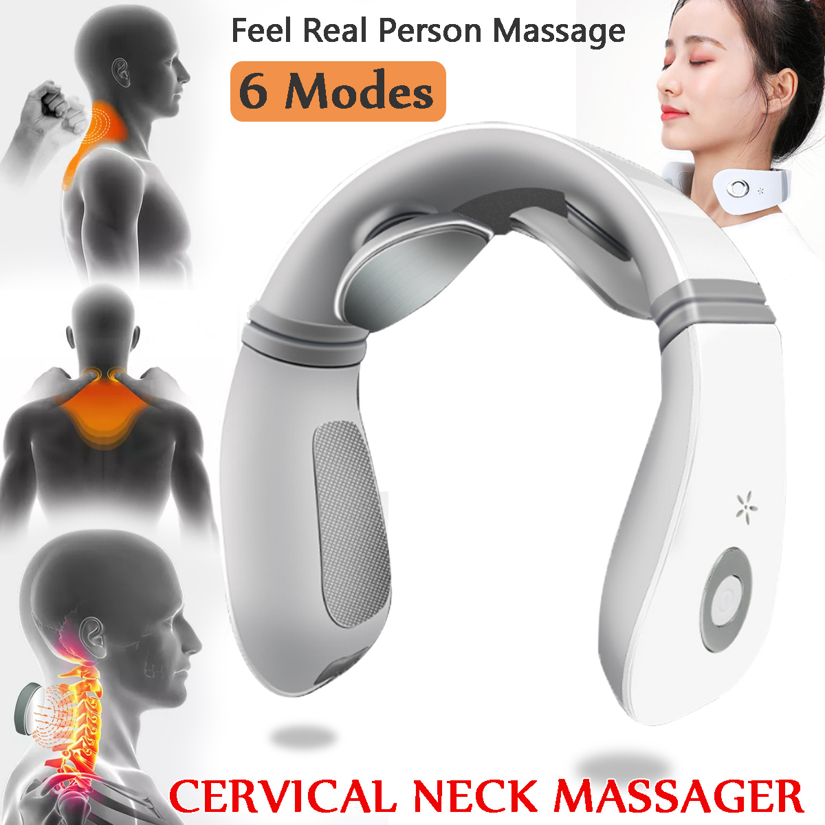 USB Electric Cervical Neck Massager 6 Modes Pulse