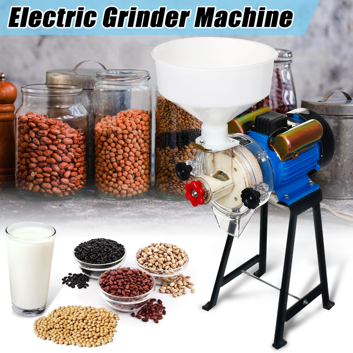 220V 2 2KW Electric Grinder Machine Rice Corn Grain Coffee Wheat Feed Mill  Wet Dry Cereals Grinder