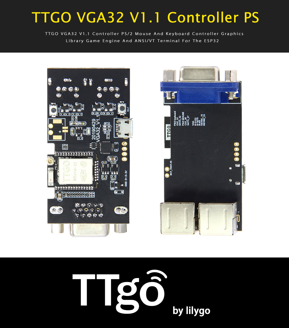 LILYGO® TTGO VGA32 V1 1 Controller PS/2 Mouse And Keyboard Controller  Graphics Library Game Engine ANSI/VT Terminal For ESP32