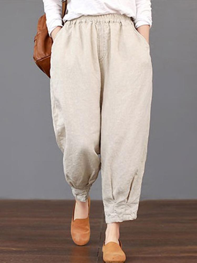 Solid Elastic Waist Cotton Pants