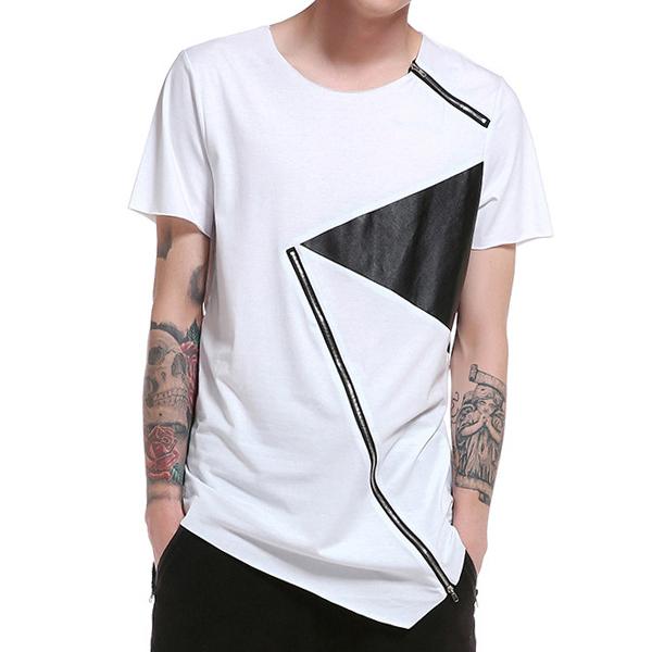Sommer Mens Hip-Hop Hit Farbe Zipper T-Shirt O-Ausschnitt kurze Ärmel Casual Baumwolle Tops Tees