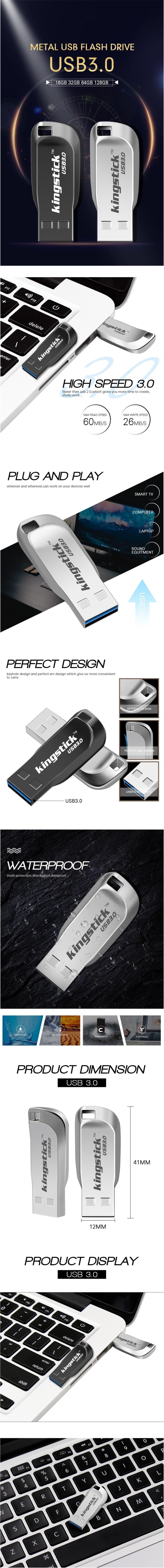 Kingstick XC-USB-KK-33 Mini USB Flash Drive USB 3 0 16GB 32GB 64GB 128GB  Metal Flash Memory Card USB Stick Pen Drive U Disk