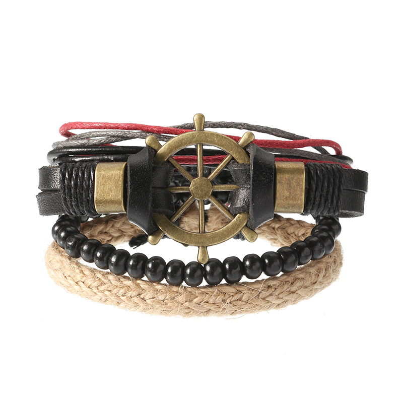 Punk Multilayer Hand Woven Bracelet Rudder Boat Anchor