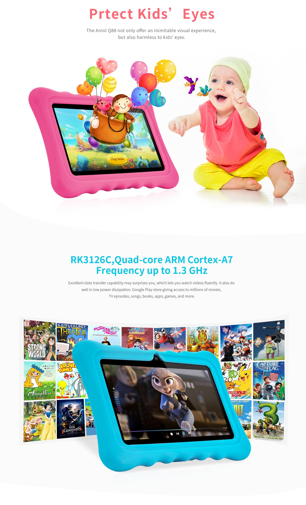 Ainol Q88 RK3126C 1 3GHz 1GB RAM 16G Android 7 1 OS Kid Tablet-Red
