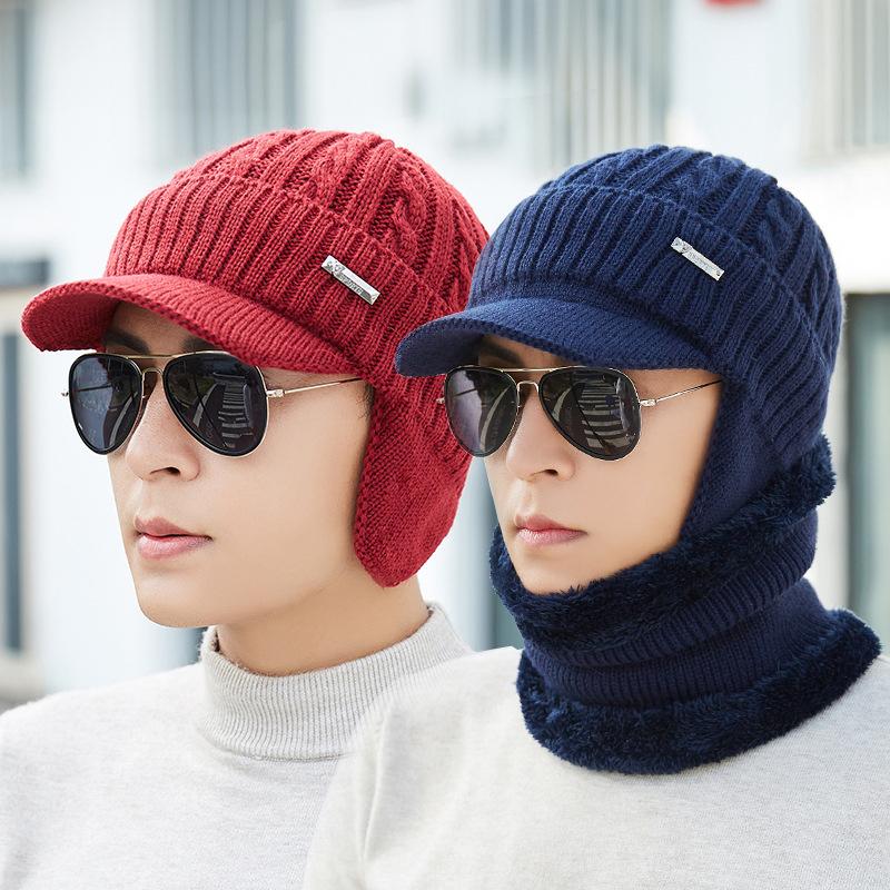 Men Women Winter Windproof Plus Velvet Knit Hat Scarf Set