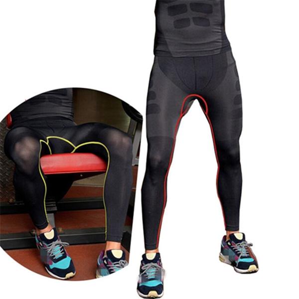 Мужчины сжатия базовый слой брюк брюки узкие длинные под кожу нижних штанов спорта