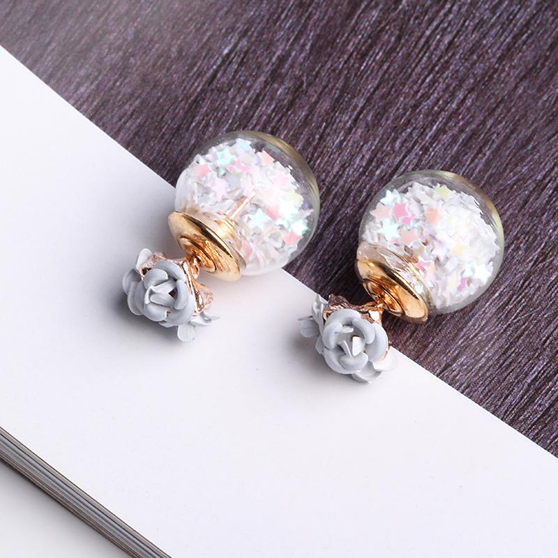 Trendy Colorful Glass Ball Stars Ear Stud Flower Earrings