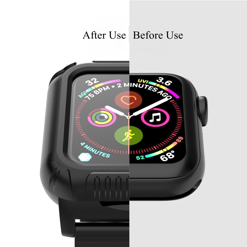 Bakeey Silicone Watch Band Strap With Full Body Watch Cover For Apple Watch  Series 4 40mm/44mm