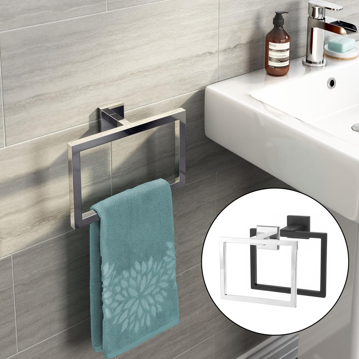 Хром Современный Ванная комната Аксессуары для стен Квадрат Полотенце Стойка с кольцевым держателем