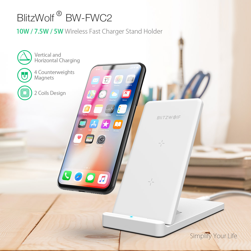 BlitzWolf® BW-FWC2 5W 7 5W 10W Foldable Wireless Fast Charger Charging Pad  For iPhone X S9 Mix 2S