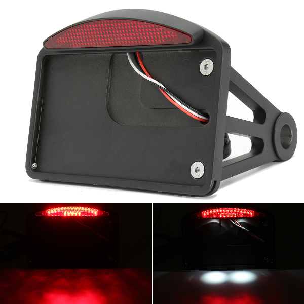 Motorcycle License Plate with LED Tail Light Horizontal SidE Mount Bracket