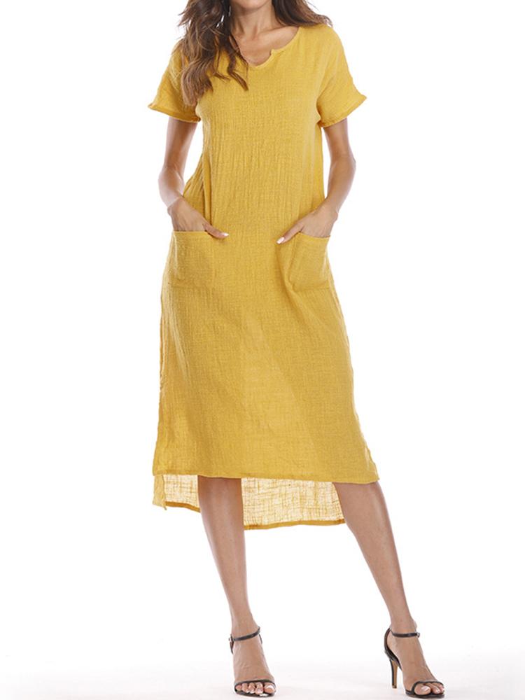 S-5XL Plus размер сплошной цвет с коротким рукавом длинный хлопок Платье