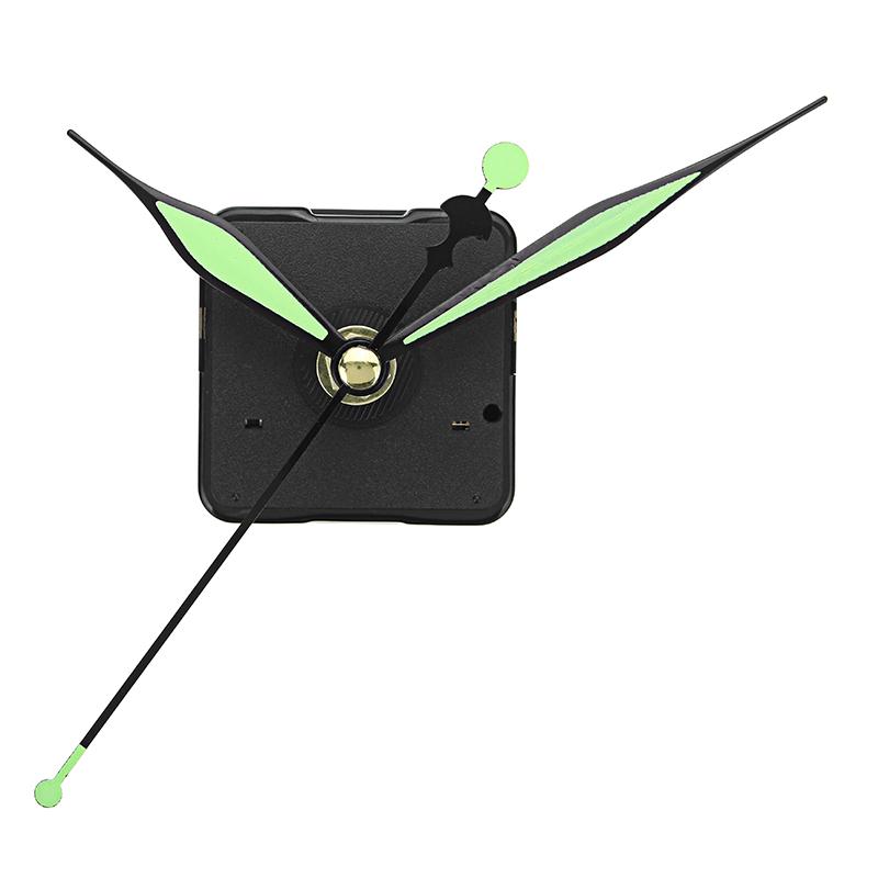 20 мм Вал Длина Зеленые и черные светящиеся руки DIY Бесшумный Кварц Часы Механизм замены стены