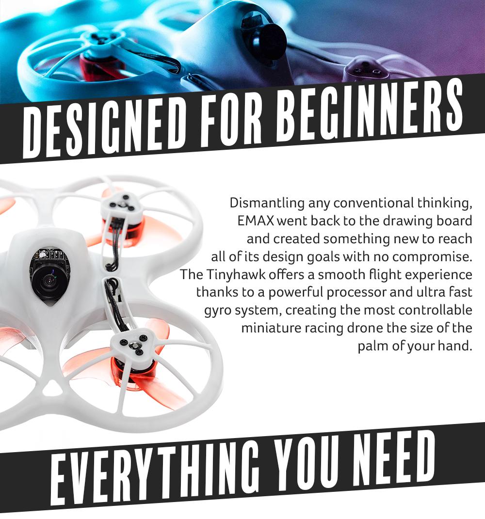 Emax Tinyhawk Indoor FPV Racing Drone BNF RTF F4 4in1 3A 15000KV 37CH 25mW 600TVL VTX 1S 2